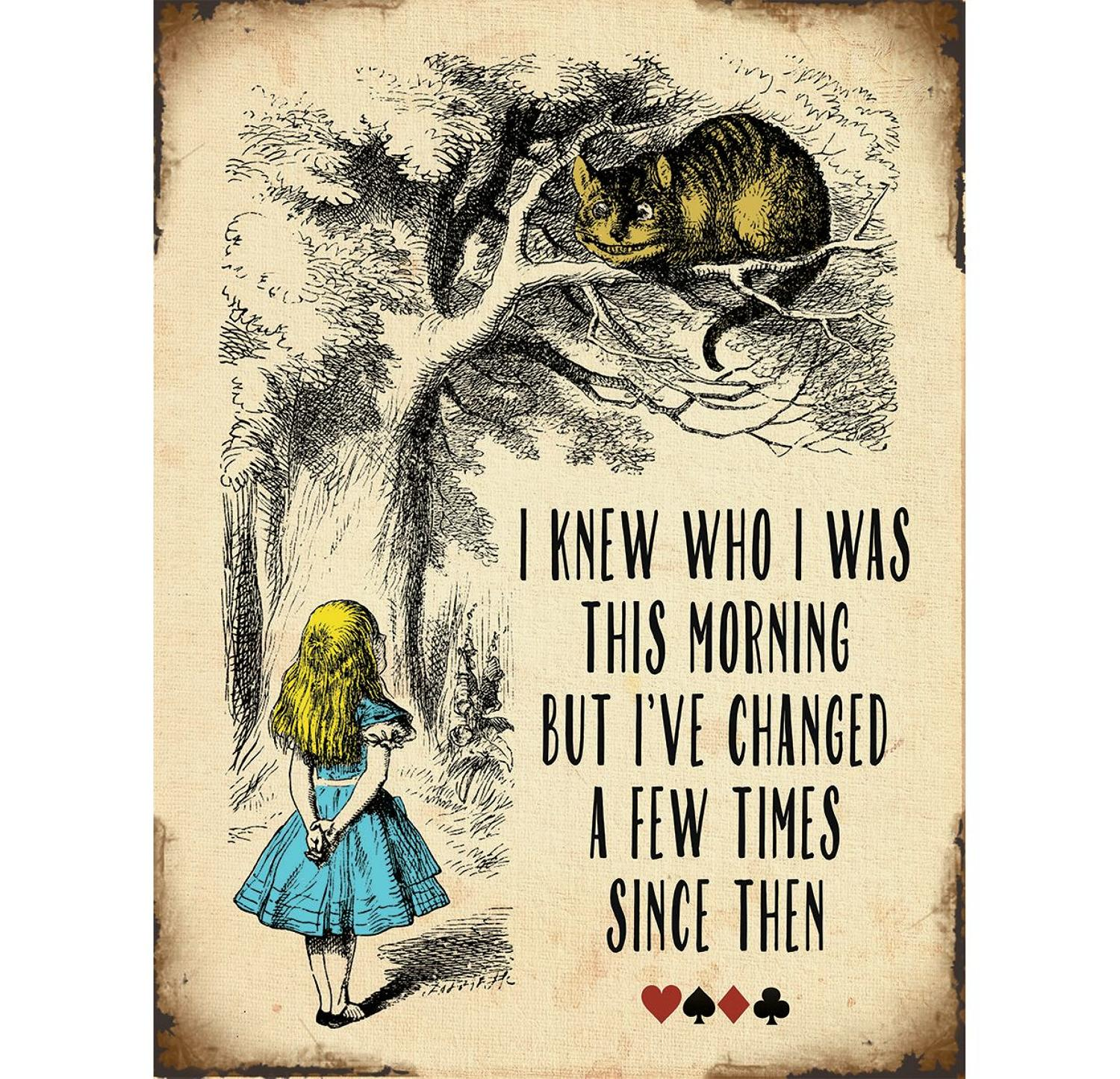 Alice in Wonderland, I Know Who I Was This Morning, metal wall sign