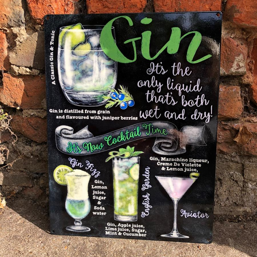 Gin metal wall sign