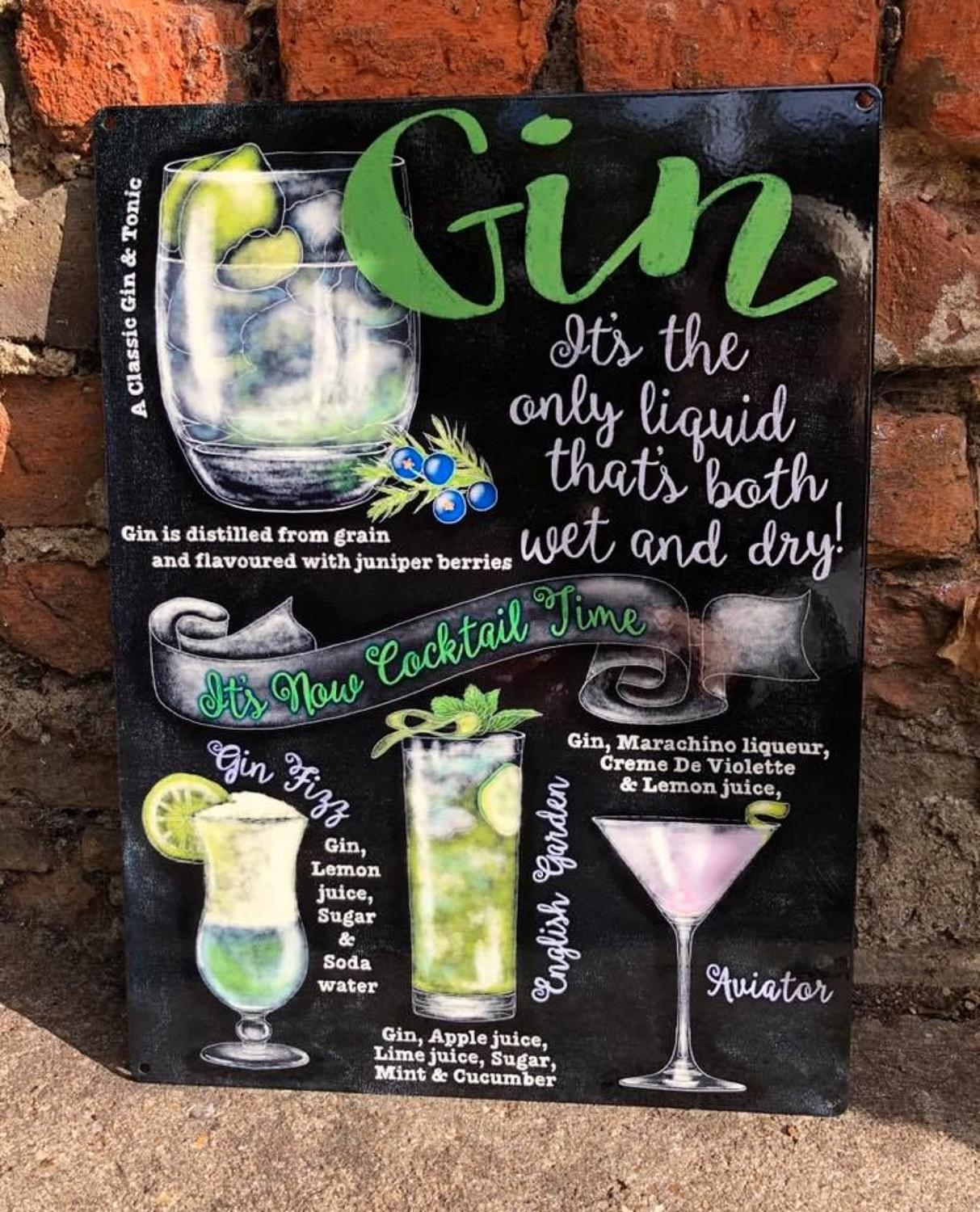 Gin metal wall sign
