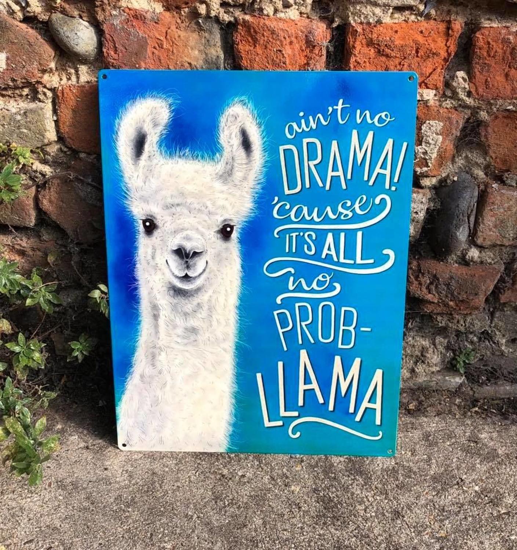 Llama metal wall sign