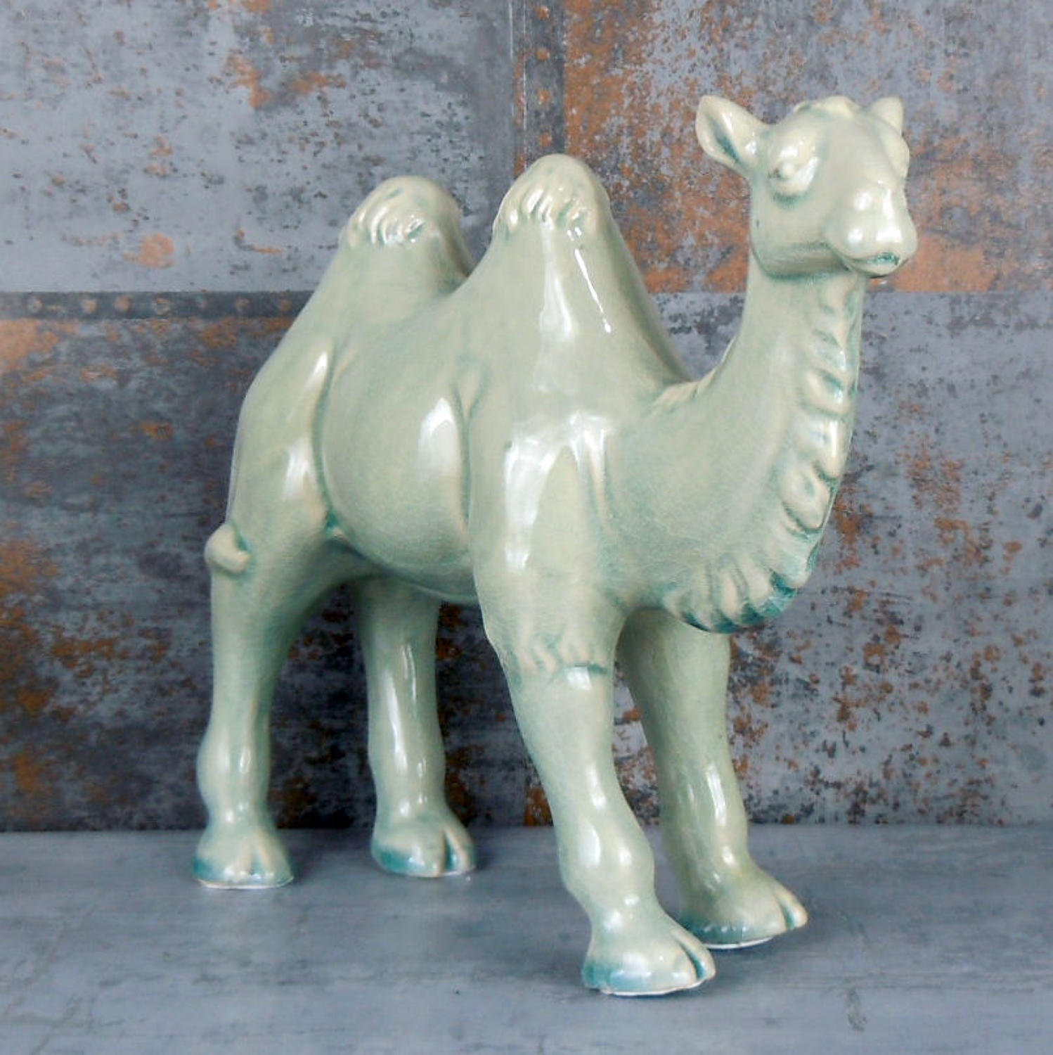 Crackle glaze standing ceramic Camel