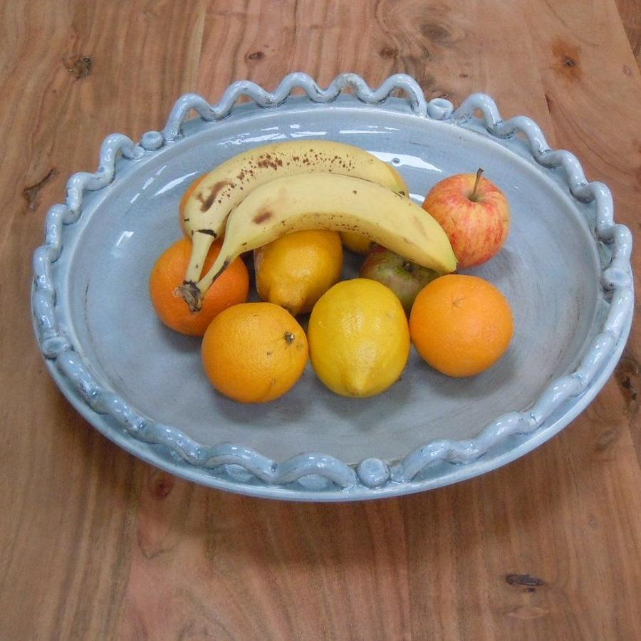 Large Grey crackle glaze Wave and Bobble bowl