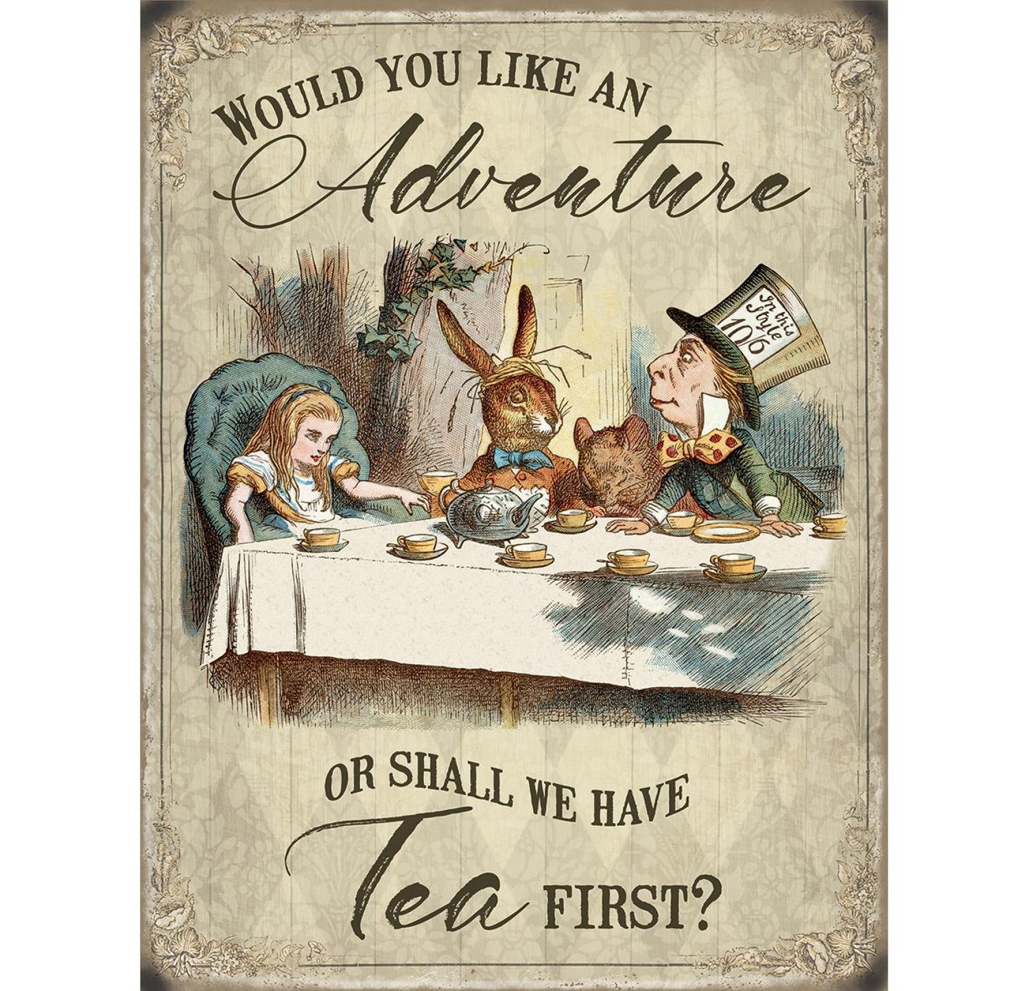 Alice in Wonderland, Would you like an adventure, metal wall sign