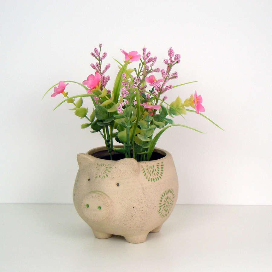 Pig Farm animal flower plant pot