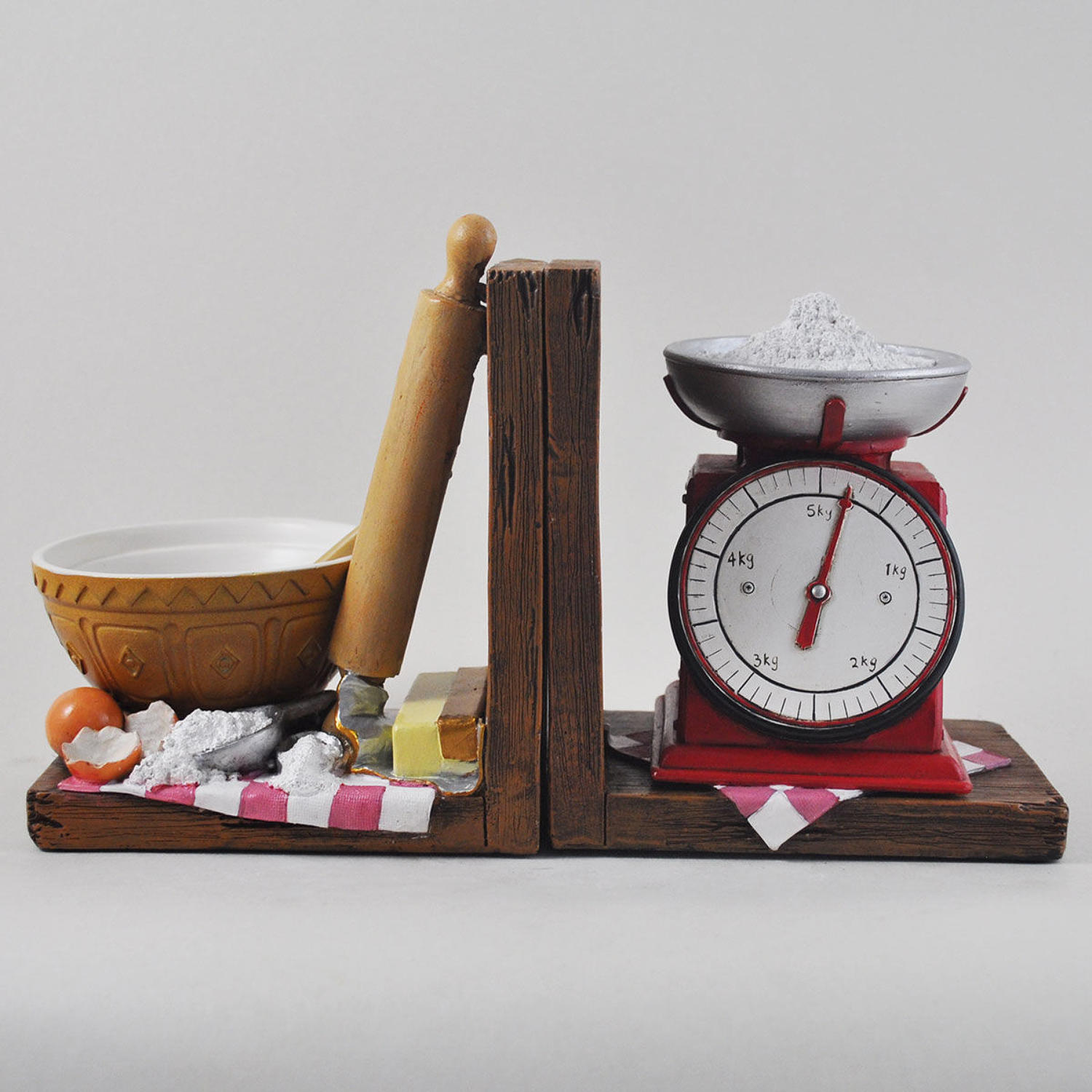Baking scales shelf tidy bookends