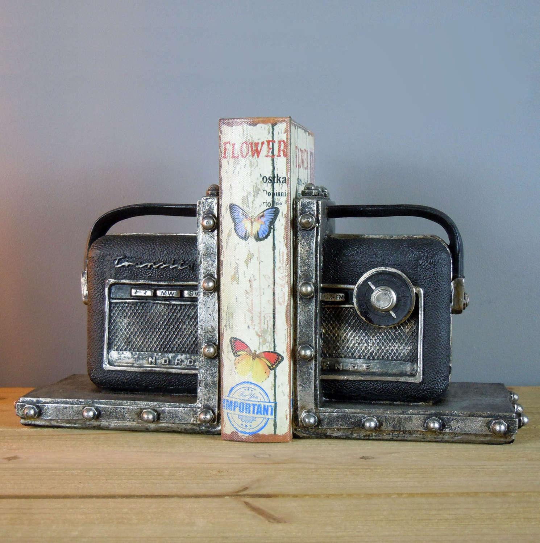 Vintage Radio shelf tidy bookends