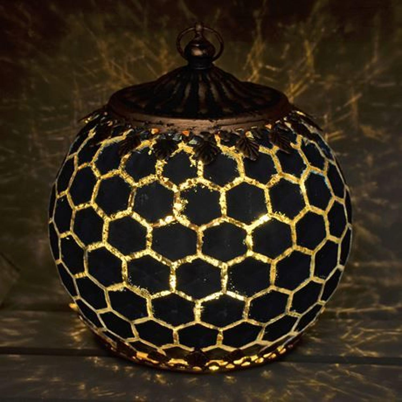 Navy LED Geometric pattern lantern