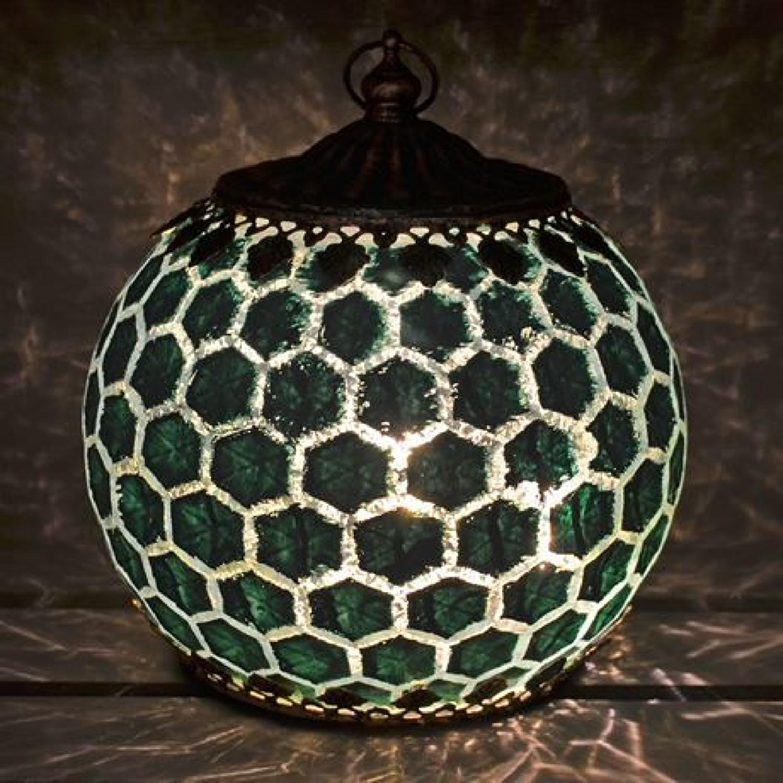 Teal LED Geometric pattern lantern
