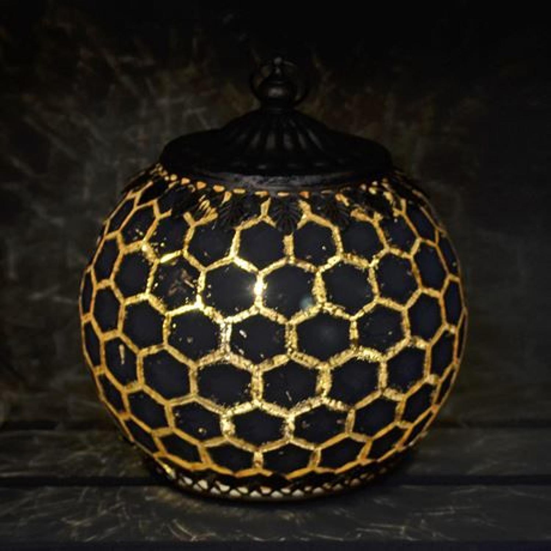 Grey LED Geometric pattern lantern