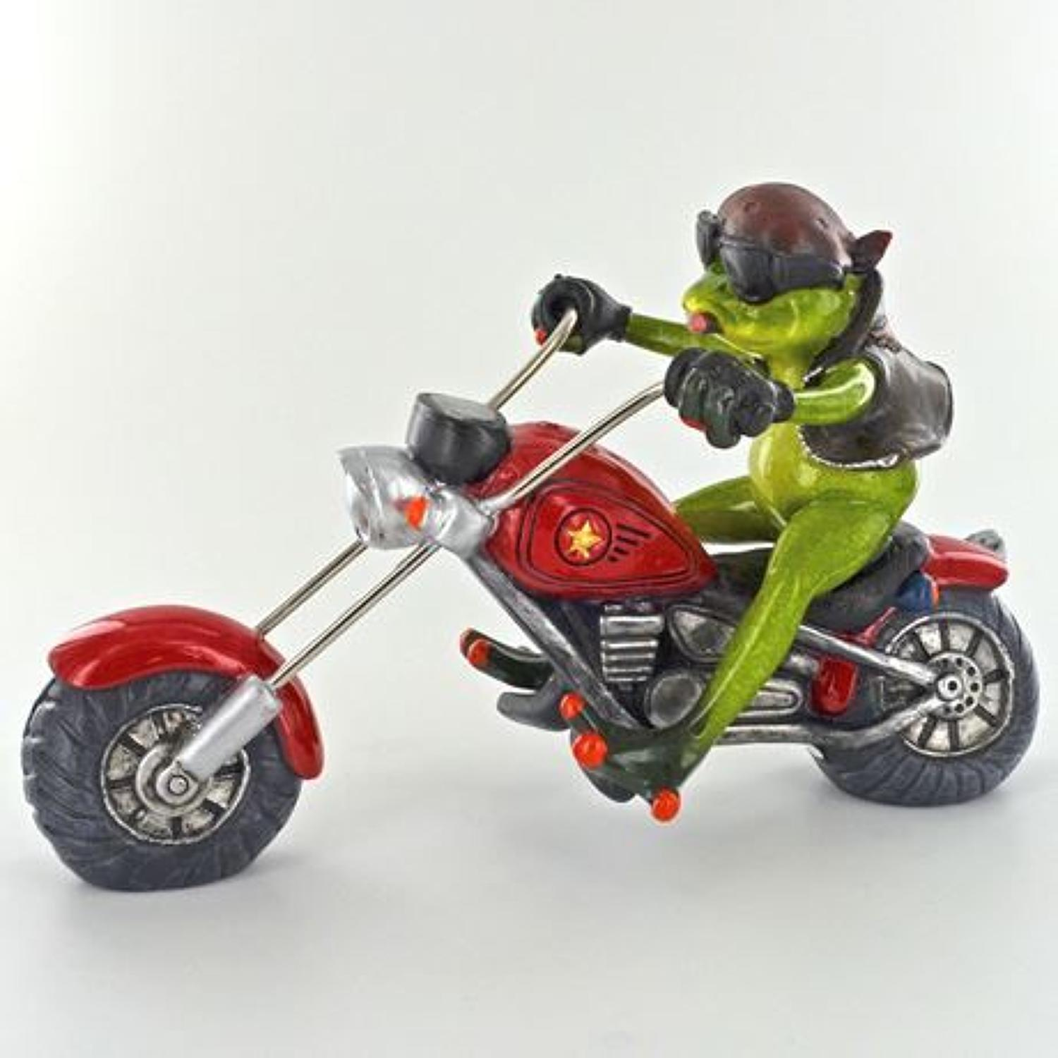 Comical Biker Frog figurine
