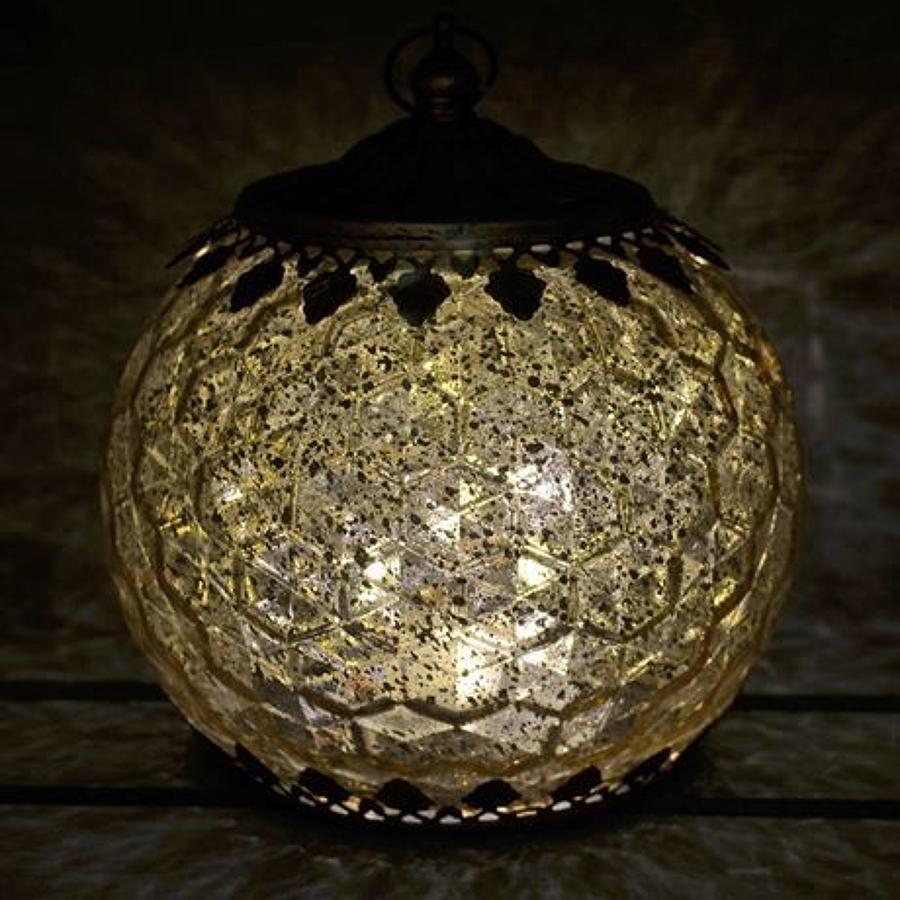 Gold LED Geometric pattern lantern