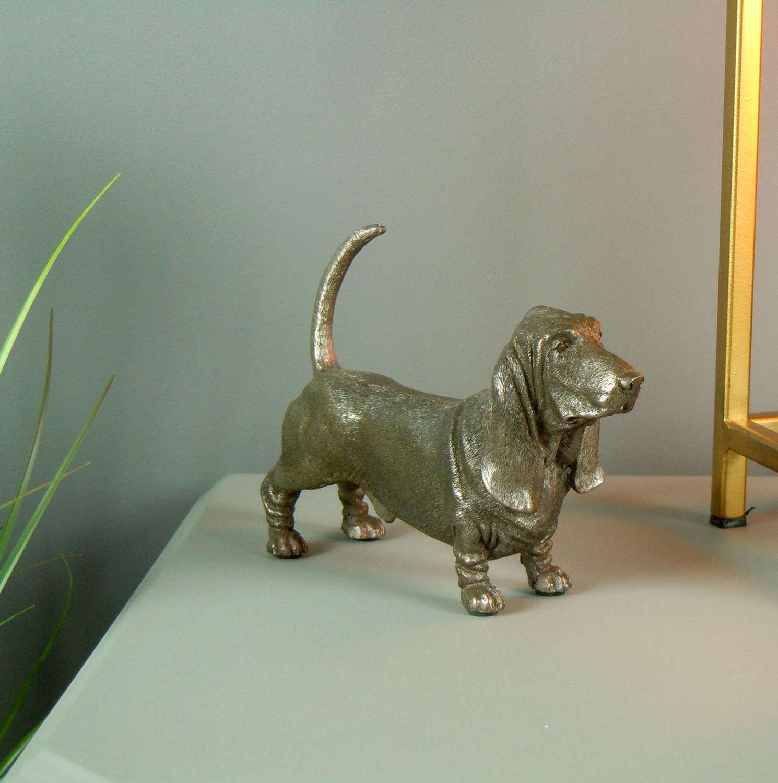 Basset Hound Dog Cold Cast Bronze sculpture