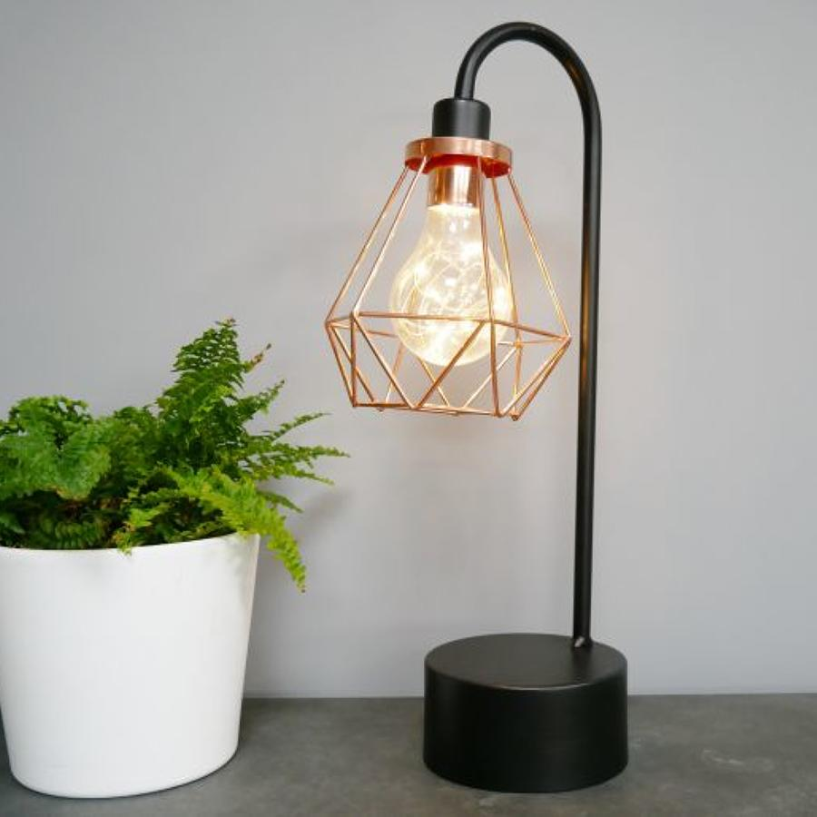 Industrial metal black and Rose gold battery operated lamp