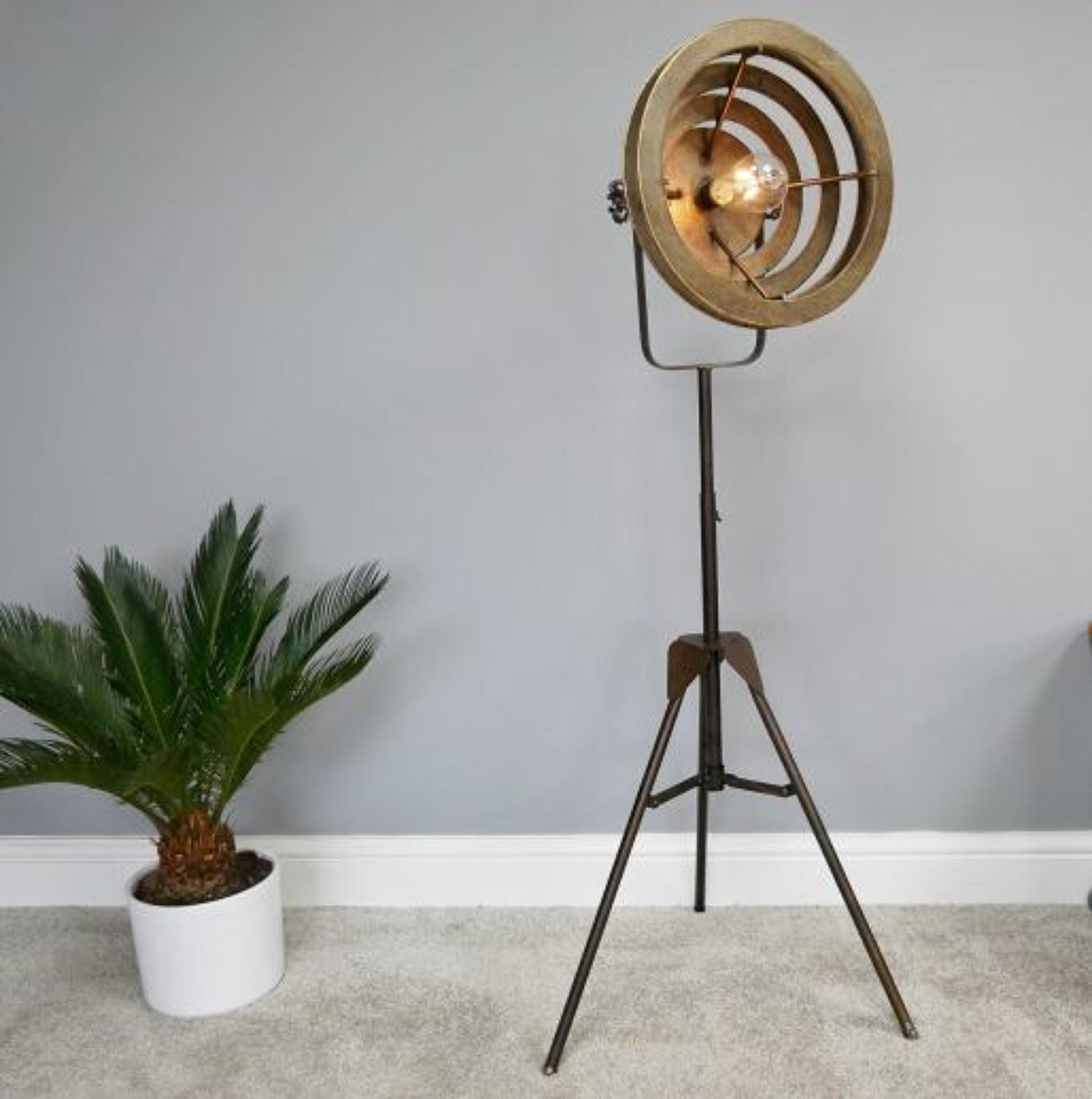 Industrial metal battery operated tripod floor lamp