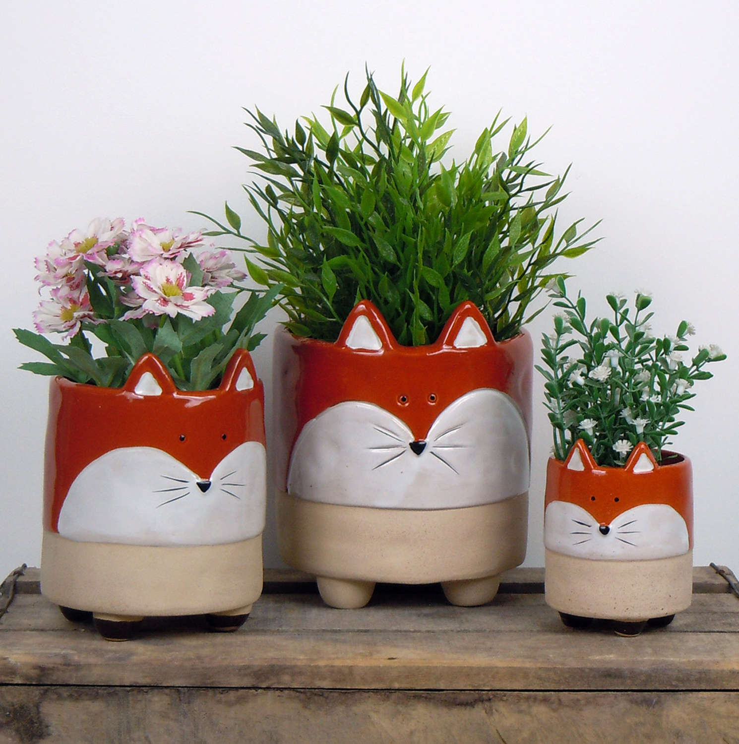 Semi glazed Fox plant pots