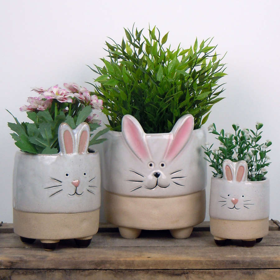 Semi glazed Rabbit plant pots
