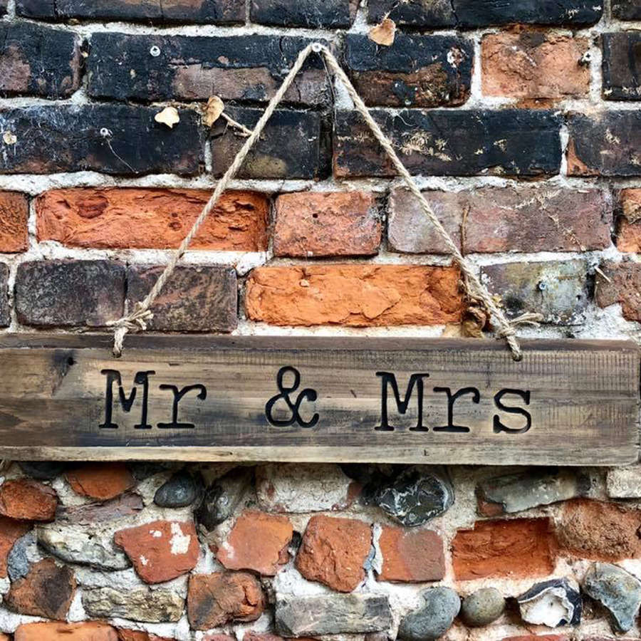 Mr & Mrs rustic wooden sign