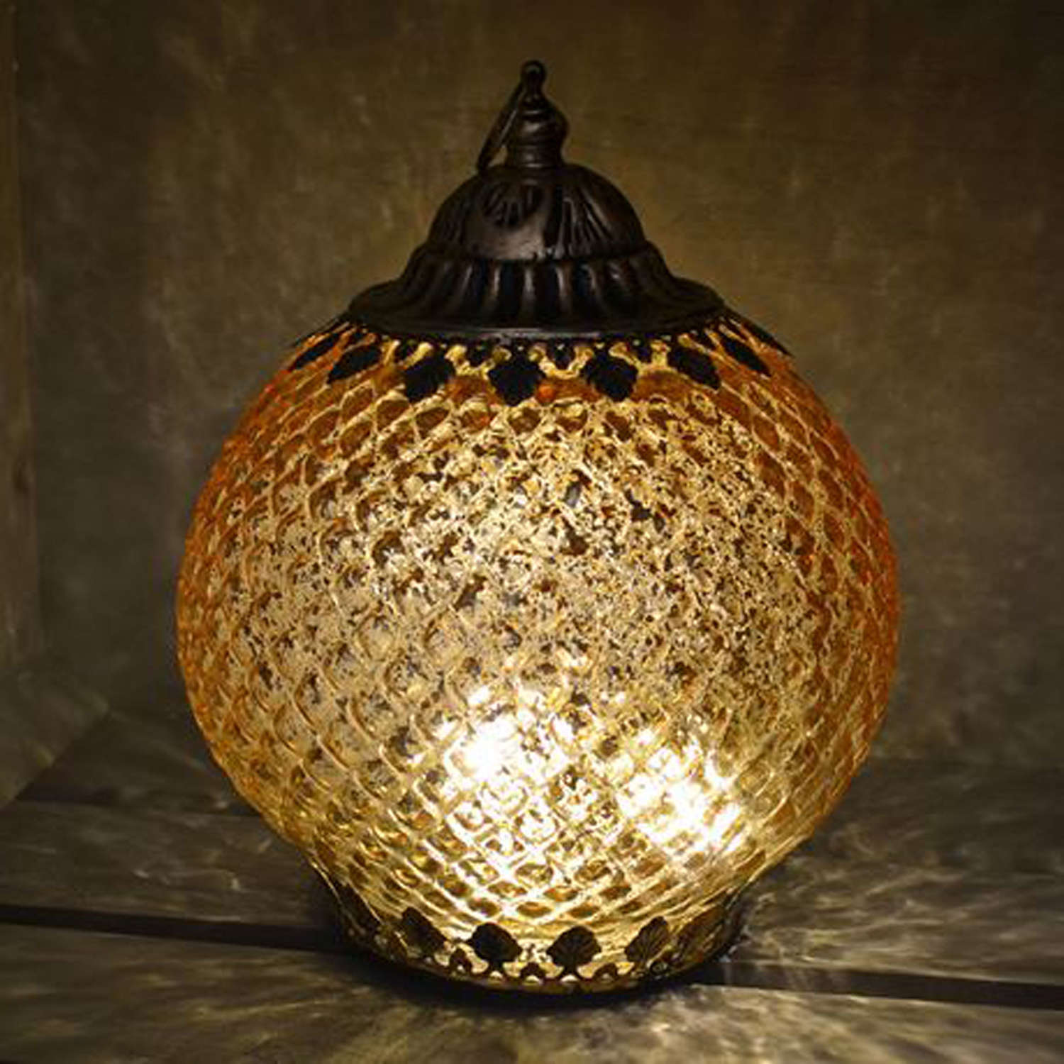 Gold LED pattern lantern