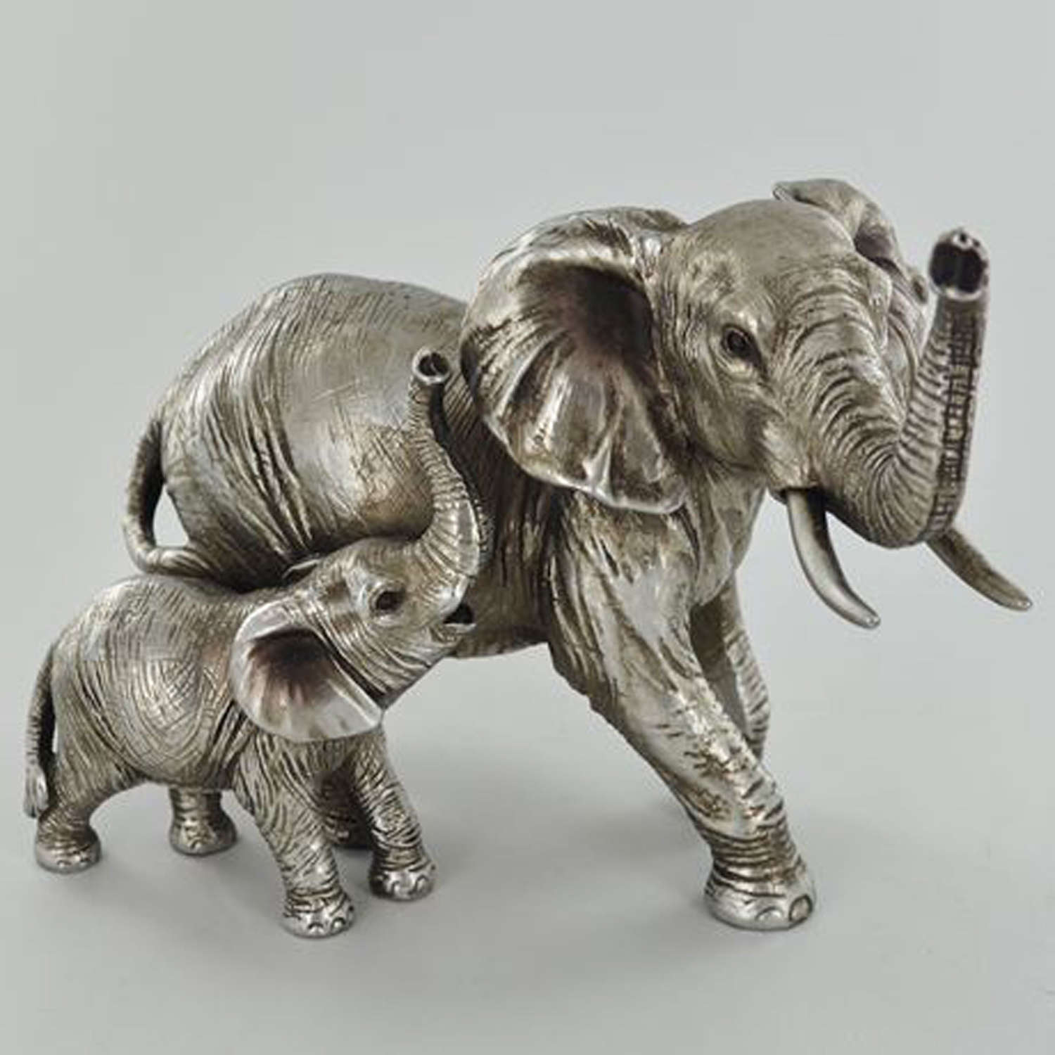 Silver Mother & Baby Elephant