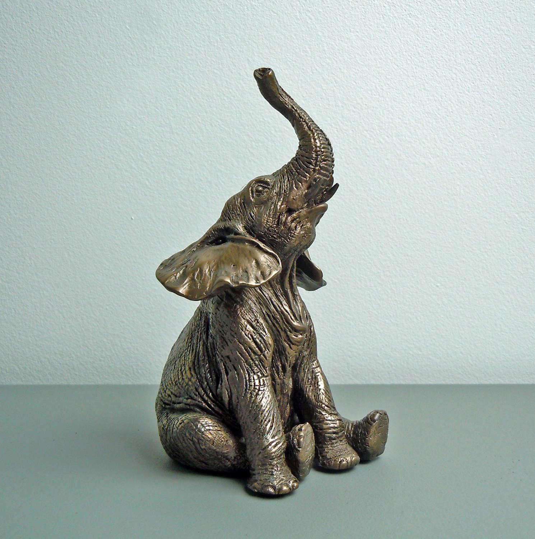 Sitting Elephant, Cold cast Bronze Baby sculpture