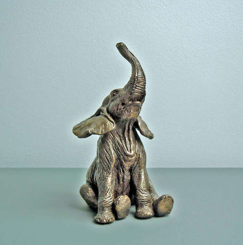 Sitting Elephant Cold Cast Bronze Sculpture Home Decoration