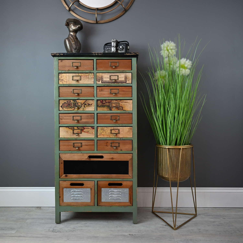 Industrial seventeen Drawer cabinet