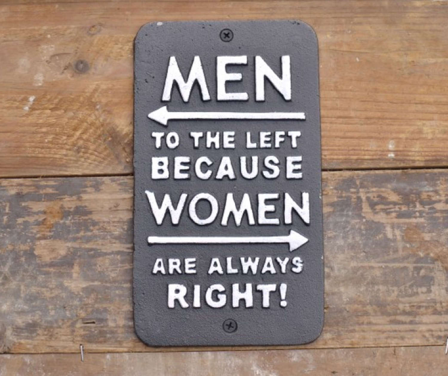 Cast Iron wall hanging Women Right sign