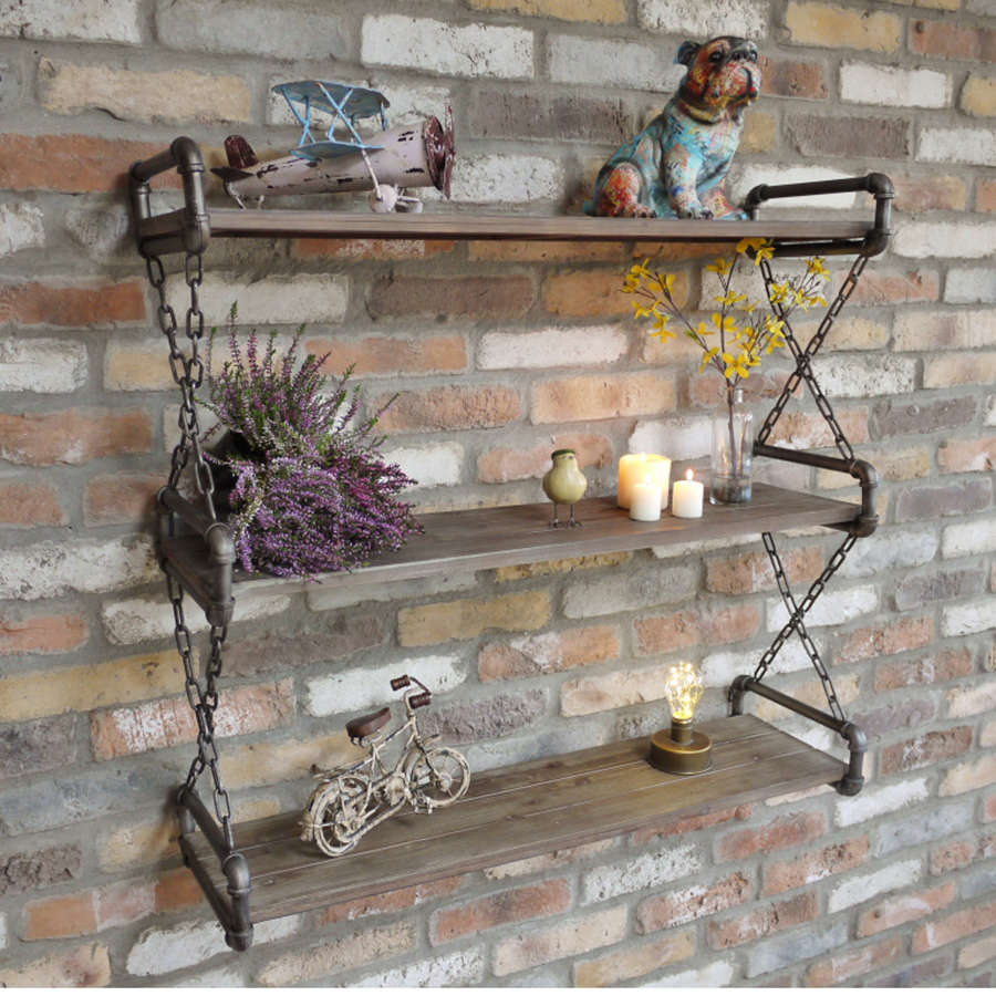 Industrial pipework wall shelf