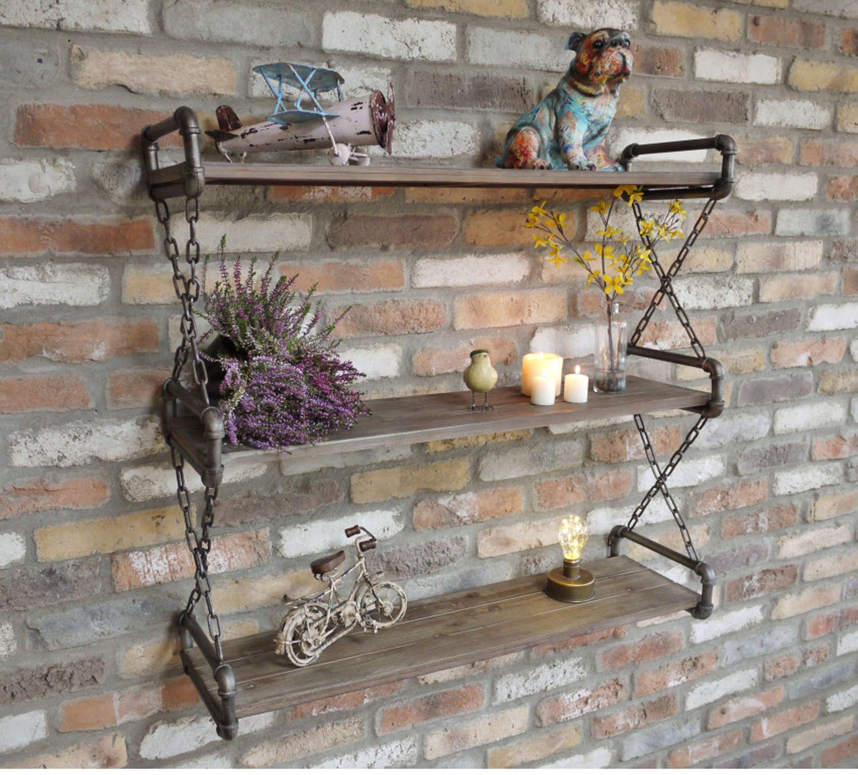 Industrial pipework wall shelf