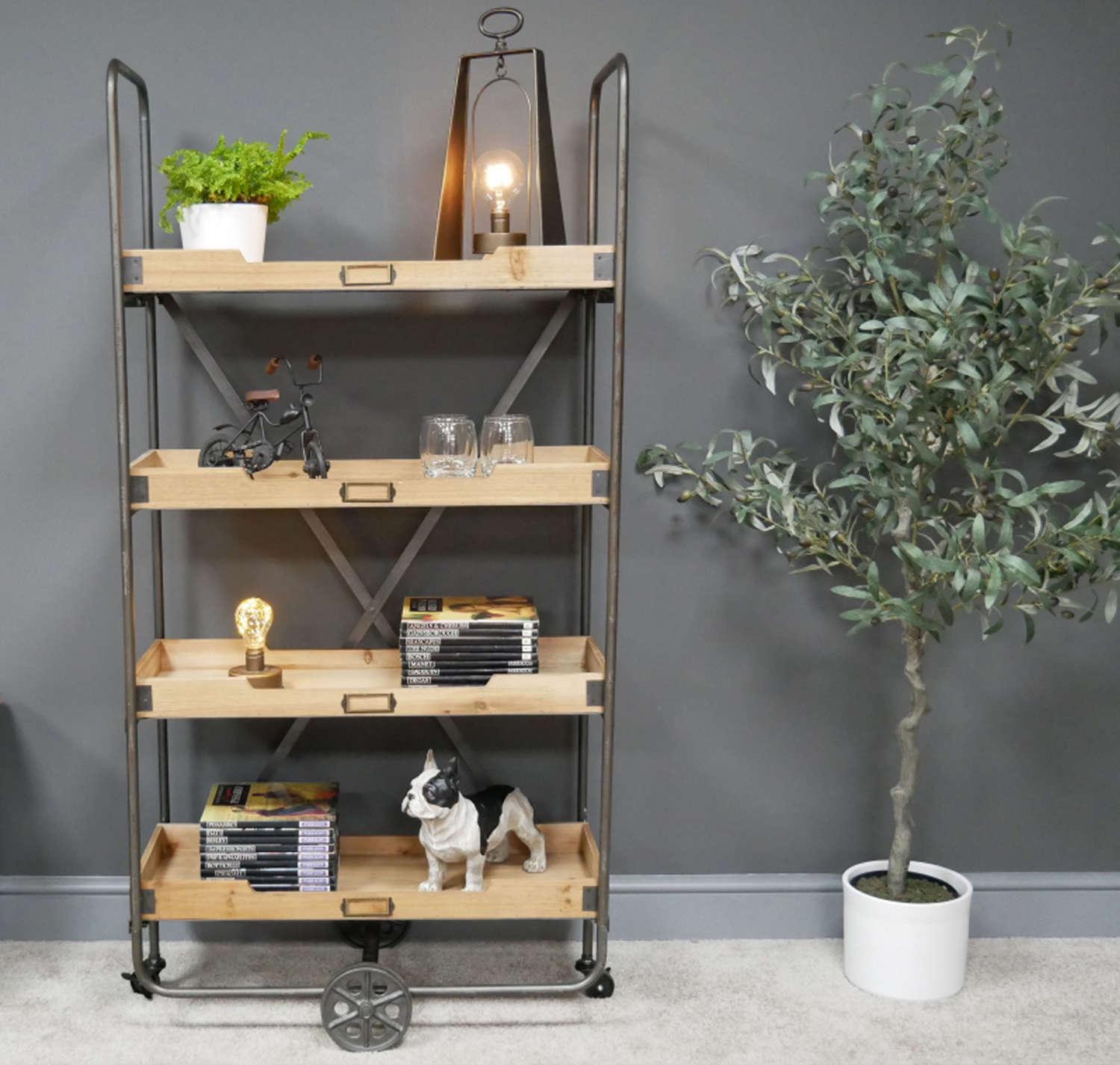 Industrial Pipework shelving unit on wheels