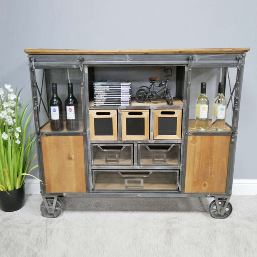 Industrial metal and wood cabinet on wheels