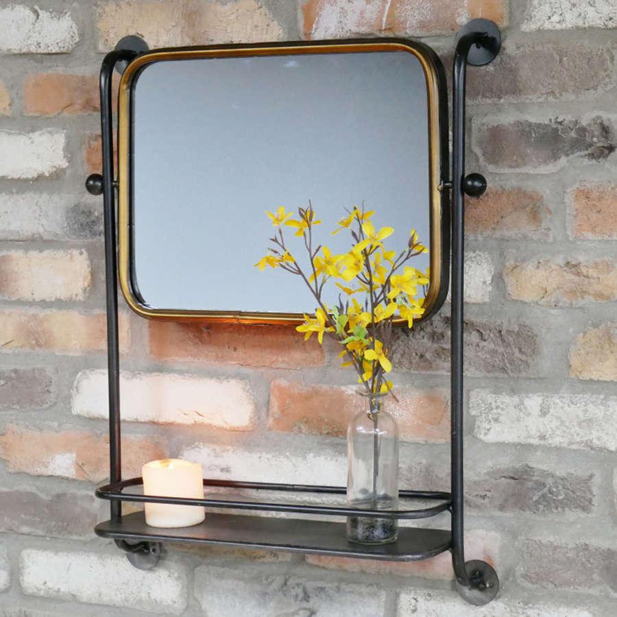 Black metal framed industrial mirror with shelf