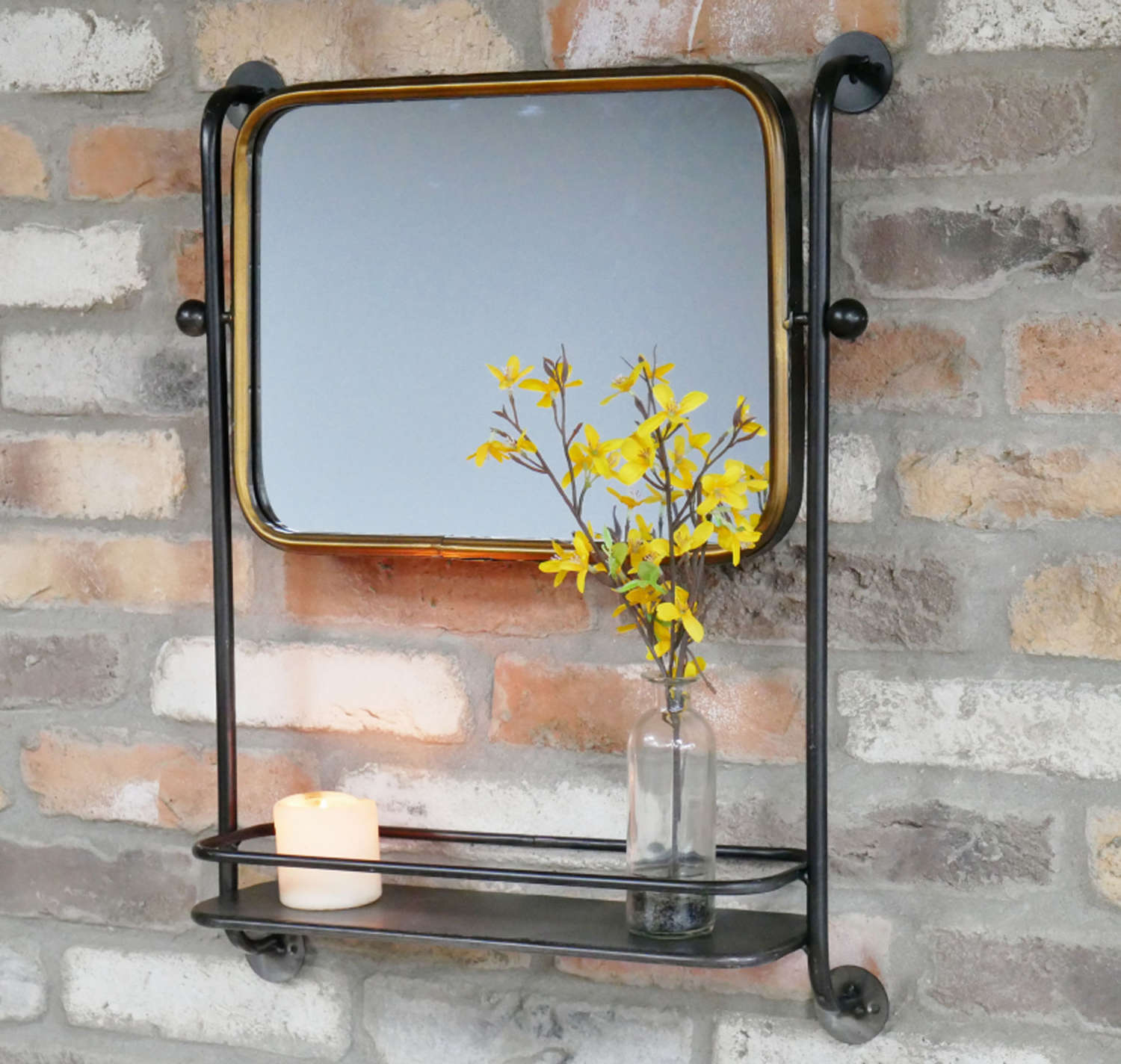 Black metal framed industrial mirror with shelf