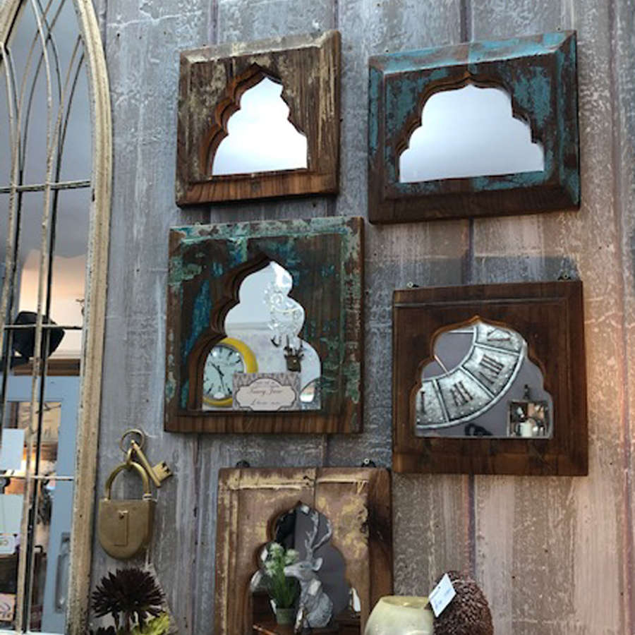 Set of 5 Indian mirrors in a rustic distressed finish