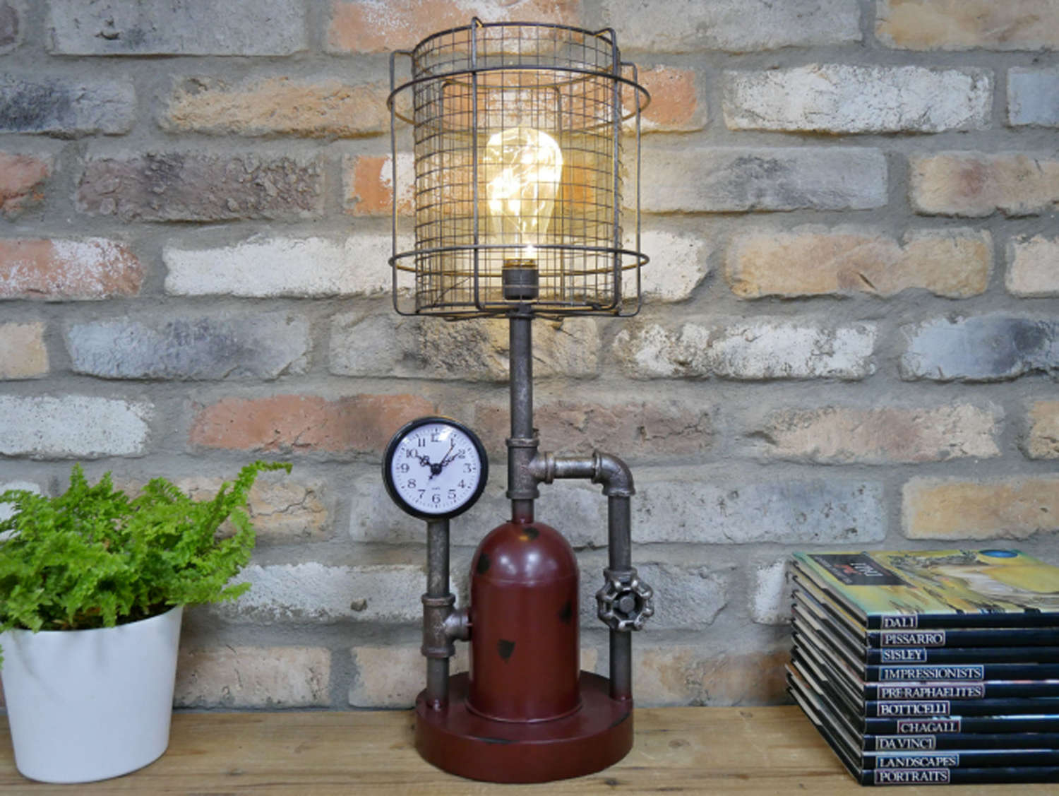 Metal Industrial lamp with clock