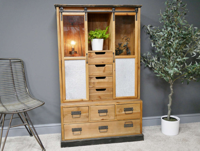 Industrial metal and wood Display cabinet