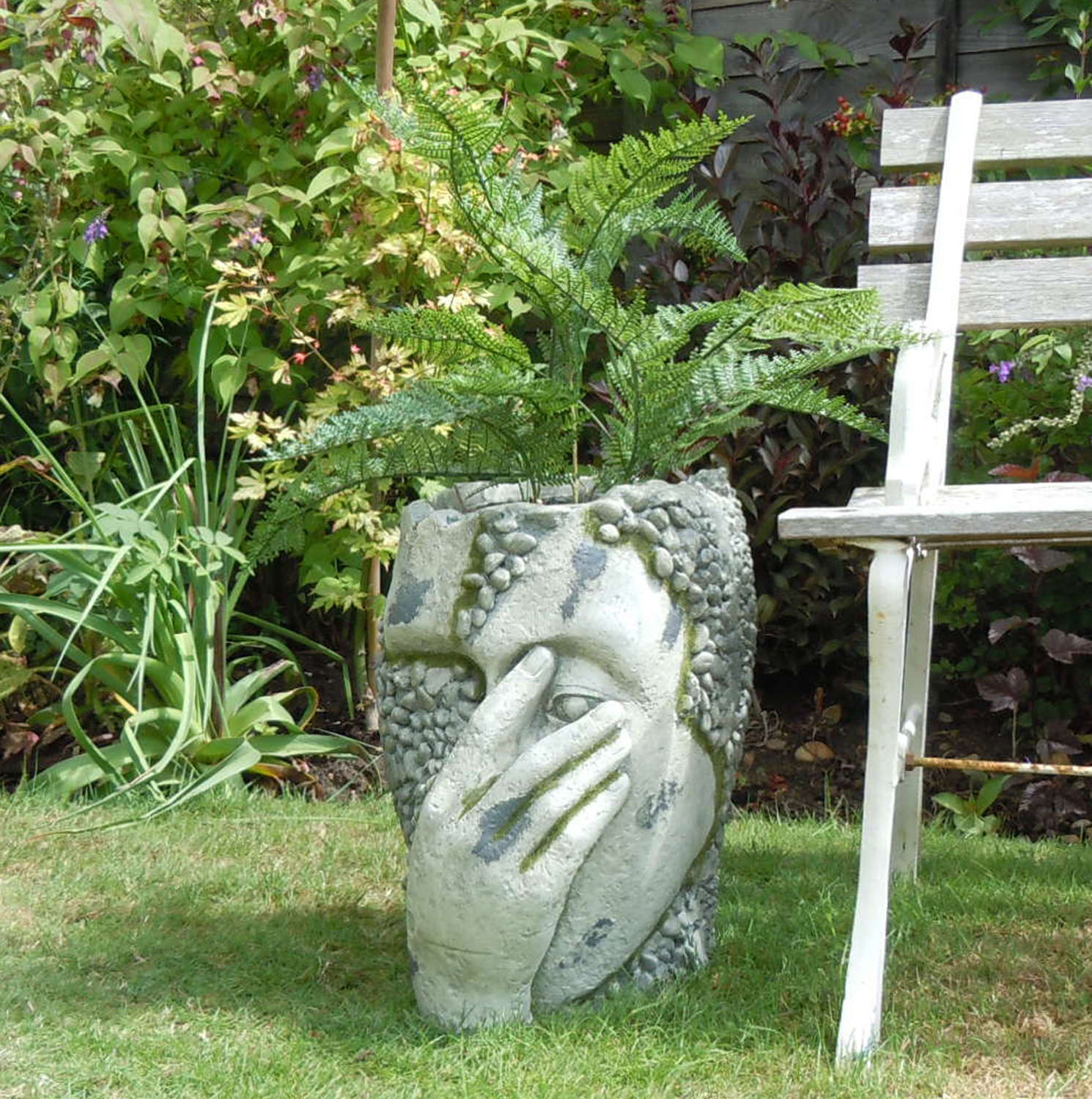 Distressed rustic stone effect head planter
