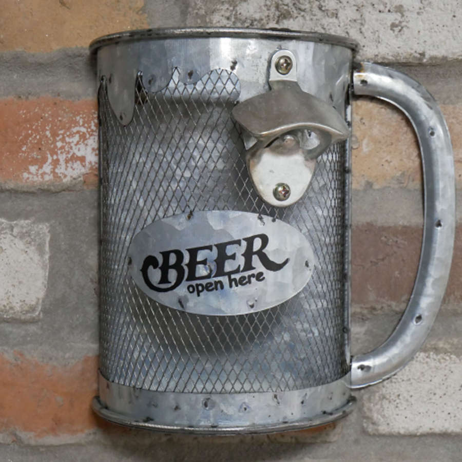 Stein metal bottle opener with top collector