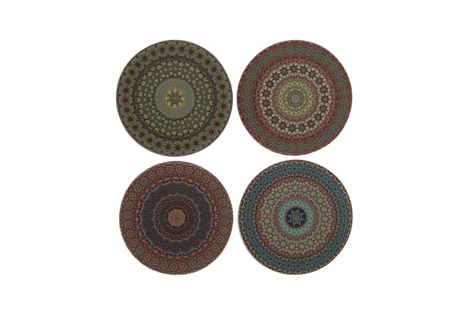 Set of four ceramic Mandala Coasters