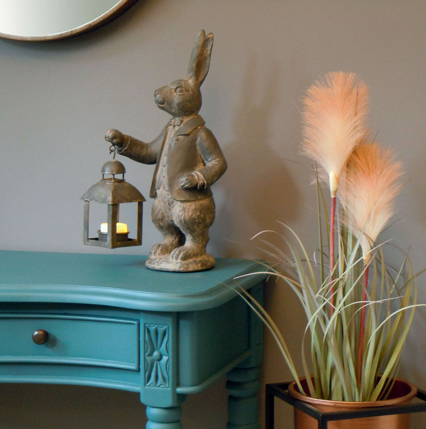 Hare with Lantern Tealight candle holder