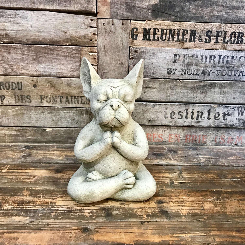 Stoneware meditating French Bulldog