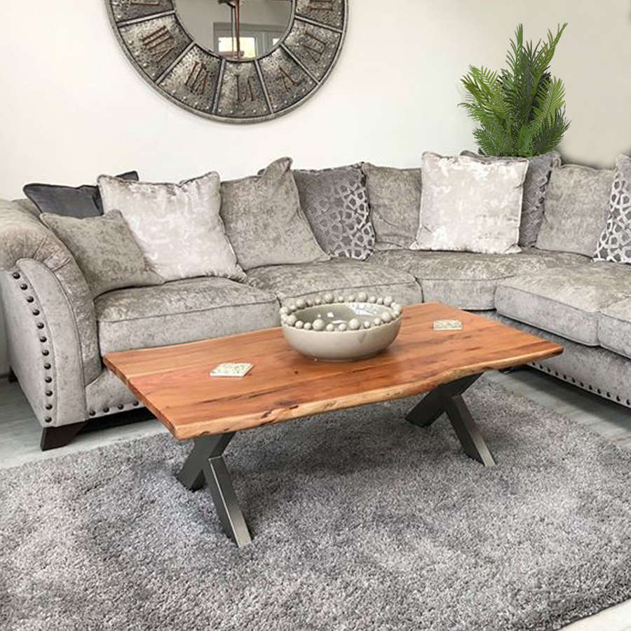 Indian Acacia wood live edge coffee table