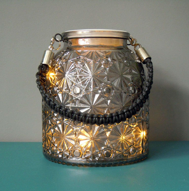 Twilight Black glass lantern