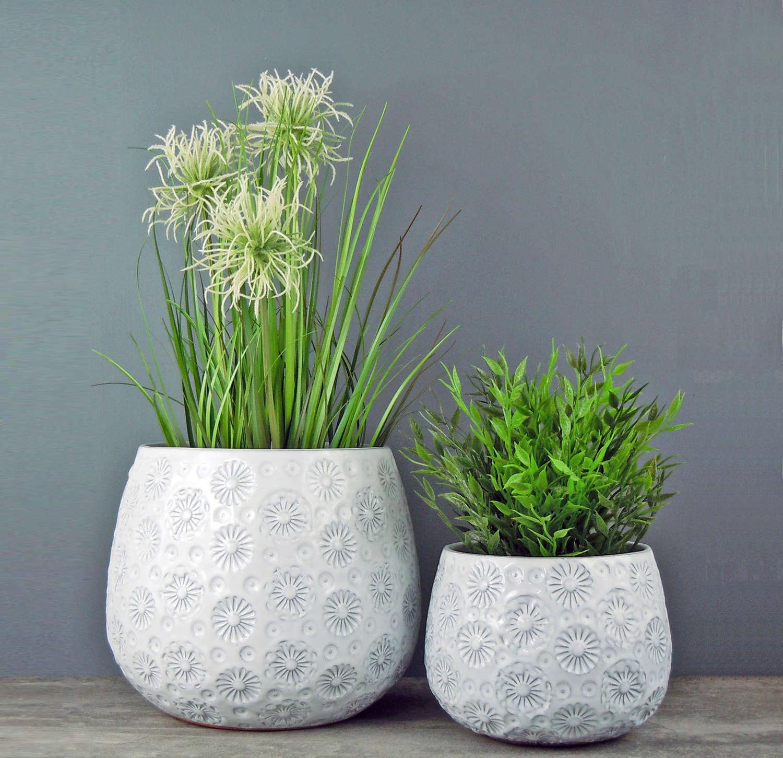 White ceramic Daisy plant pots
