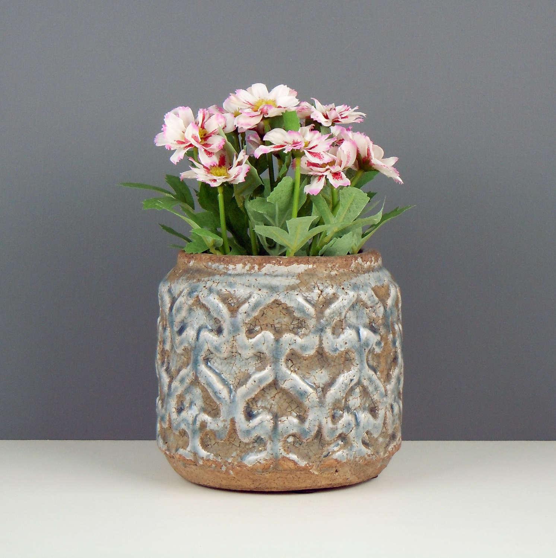 Marapi blue crackle glaze planter