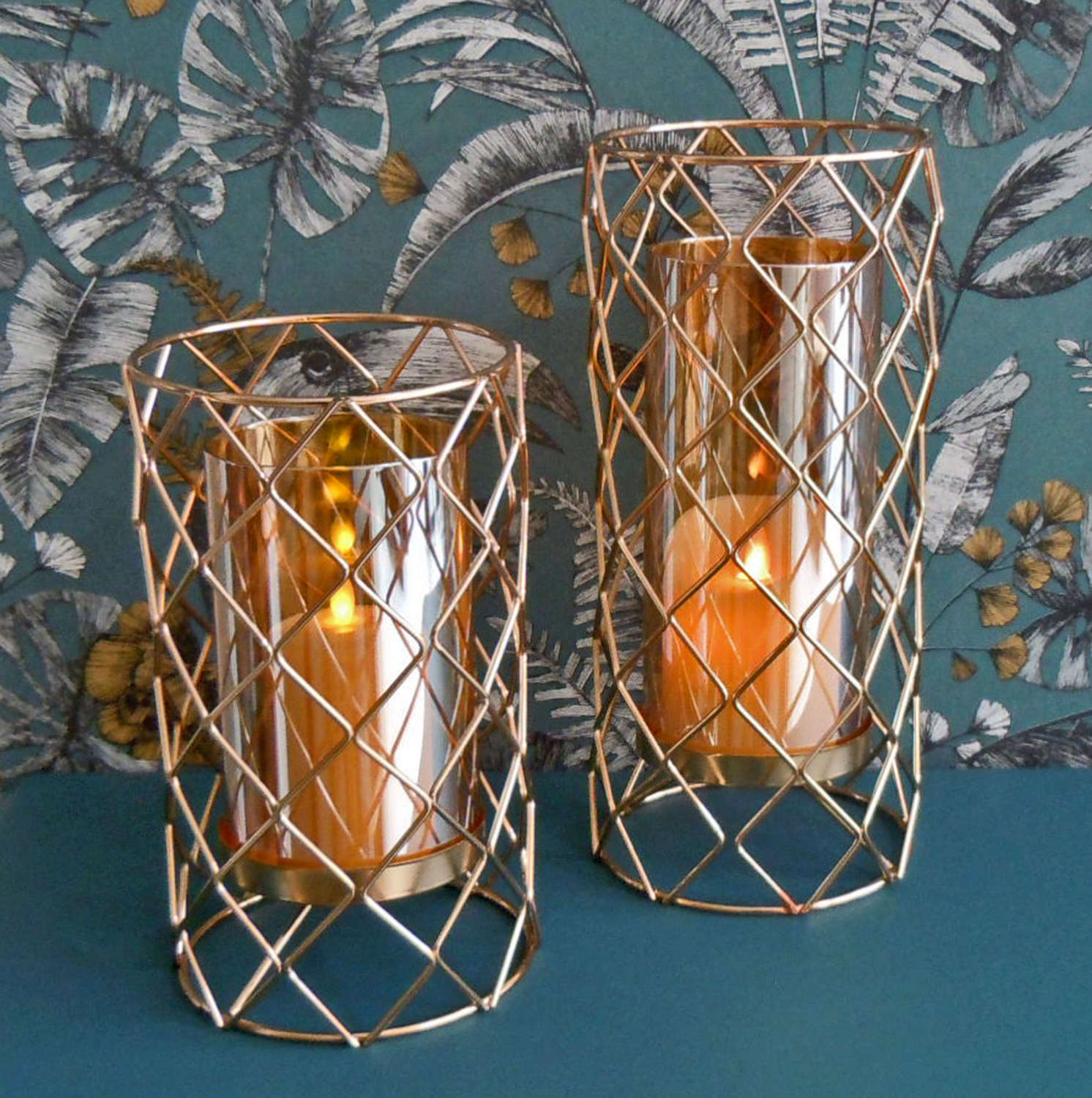 Plaid rose gold metal candle holders