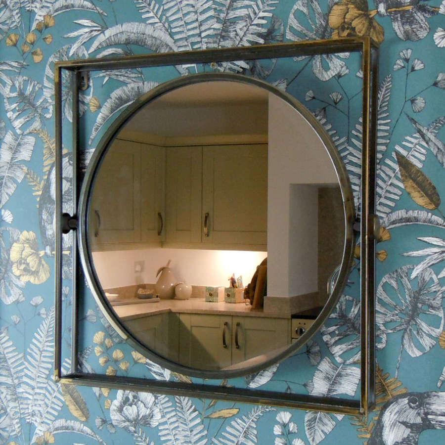 Urban industrial bronzed distressed metal mirror