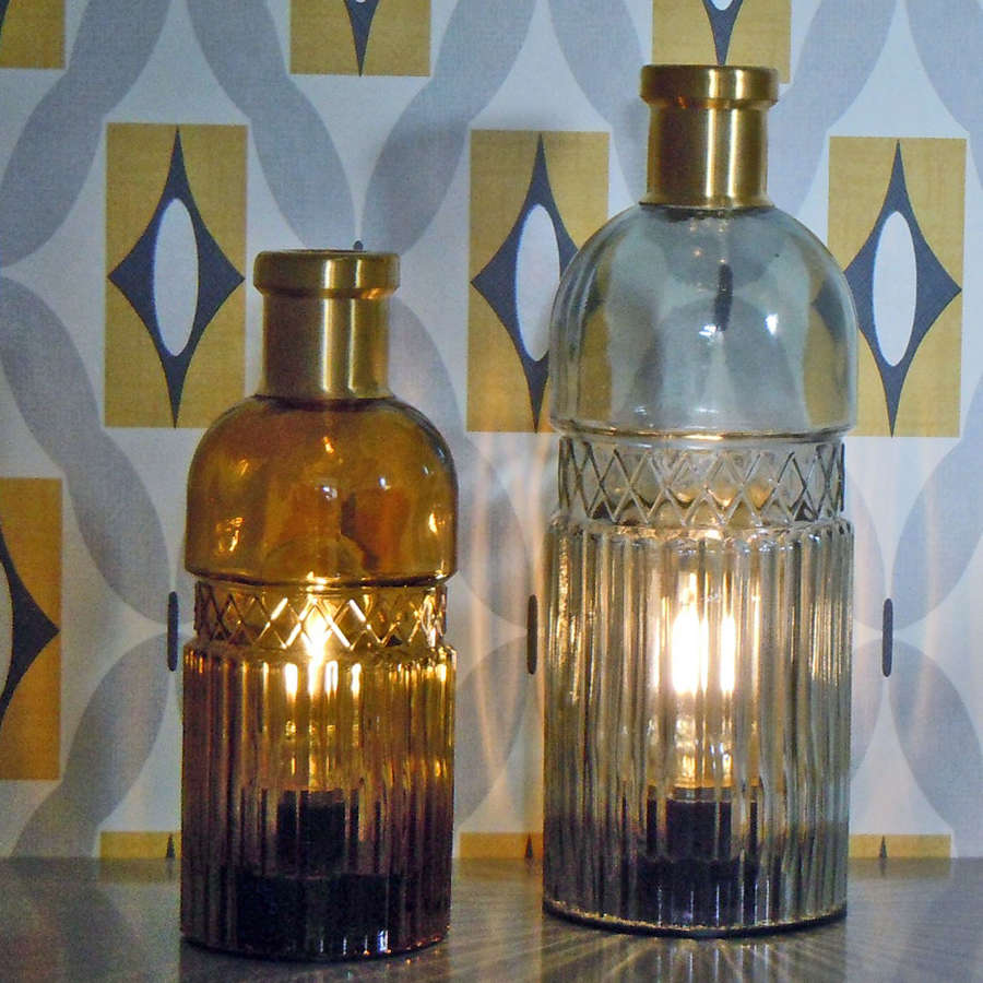 Vintage coloured LED battery operated glass bottle lamps