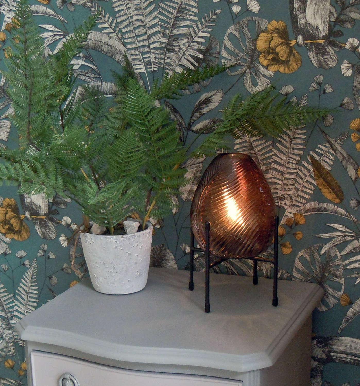 Oriental dark brown glassbattery operated LED lamp