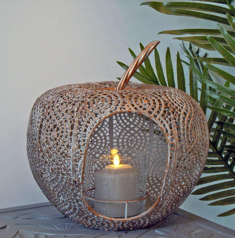 Filigree metal apple lantern in a verdigris finish